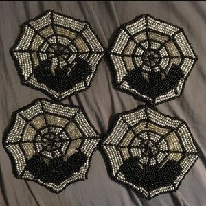 Other - Beaded Bat spider web coaster set *firm price*